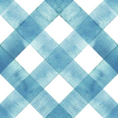 Aquarell diagonale Streifen karierte nahtlose Textur. Blaugrüne blaue Streifen auf weißem Hintergrund. Aquarell handgezeichnetes Streifenmuster. Drucken Sie für Stoffdesign, Textilien, Stoffe, Tapeten, Verpackungen, Fliesen. Standard-Bild