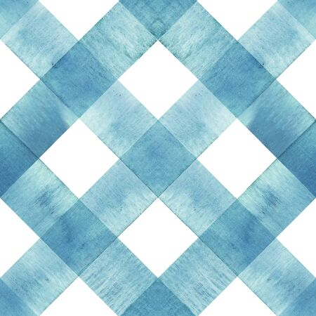 Texture transparente à carreaux aquarelle à rayures diagonales. Rayures bleu sarcelle sur fond blanc. Motif rayé aquarelle dessiné à la main. Imprimez pour la conception de tissu, le textile, le tissu, le papier peint, l'emballage, la tuile. Banque d'images