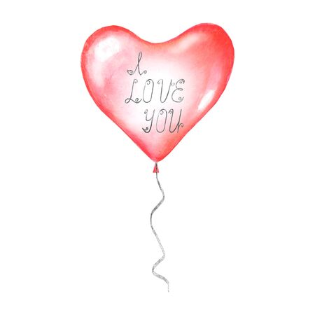 I LOVE YOU handmade calligraphy silver lettering on watercolor red glossy helium air flying balloon in shape of heart isolated on white background. Watercolour hand drawn festive illustration. Ilustrace