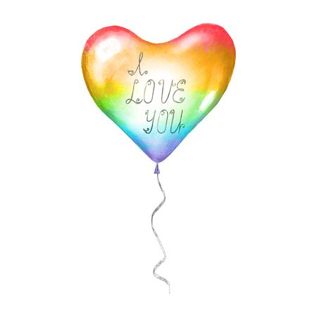 Heart LGBT sign symbol love romantic icon. Rainbow watercolor flying balloon in shape of heart with lettering I love you isolated on white background. Watercolour hand drawn conceptual illustration.