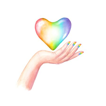 Beautiful womans hand with LGBT flag colors manicure nails and rainbow heart isolated on white background. Watercolour hand drawn conceptual lesbian, gay, bisexual, and transgender poster design.