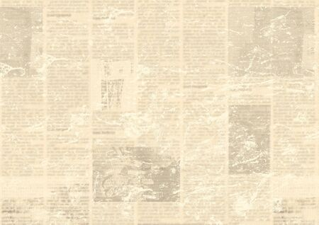 Old grunge newspaper paper textured background. Blurred vintage newspapers texture background. Blur unreadable aged news horizontal page with place for text, images. Sepia yellow collage.