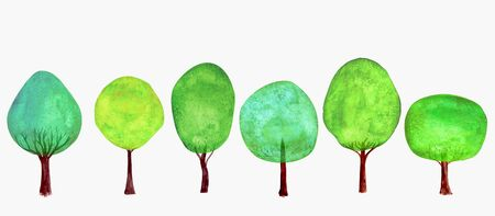 Trees set. Summer background. Watercolor cartoon green colorful fresh tree collection isolated on white background. Watercolour hand drawn botanical illustration.