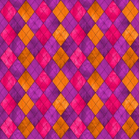 Colorful argyle seamless plaid pattern. Watercolor hand drawn texture background. Watercolour pink purple orange rhombus shapes background. Print for cloth design, textile, fabric, wallpaper, wrapping, tile. Stock fotó