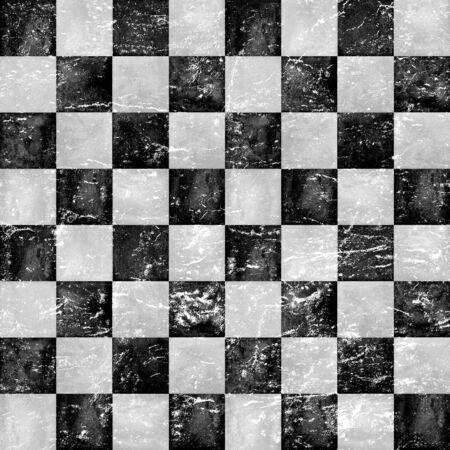 Schwarze und graue karierte Vintage Grunge karierte nahtlose Textur. Aquarell handgezeichnetes Muster. Trendiger Hintergrund des Aquarellschachs. Drucken Sie für Stoffdesign, Textilien, Stoffe, Tapeten, Verpackungen, Fliesen.