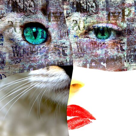 Mixed media. Contemporary fashion catwoman portrait. Beautiful female face with green eyes and cat face on newspaper texture. Newspapers art print grunge collage. Stock fotó