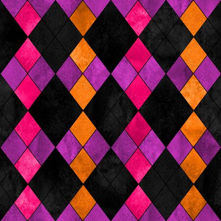 Colorful argyle seamless plaid pattern. Watercolor hand drawn texture background. Watercolour pink purple orange black rhombus shapes. Print for cloth design, textile, fabric, wallpaper, wrapping.
