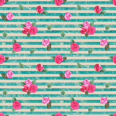 Vintage background with watercolor pink red roses on teal turquoise stripes seamless pattern. Watercolour hand painted striped old grunge texture. Print for textile, fabric, wallpaper, wrapping paper. Stock fotó