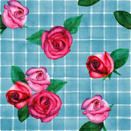 Background with watercolor pink red roses on blue stripes plaid seamless pattern. Watercolour hand painted striped old grunge texture. Print for textile, fabric, wallpaper, wrapping paper.
