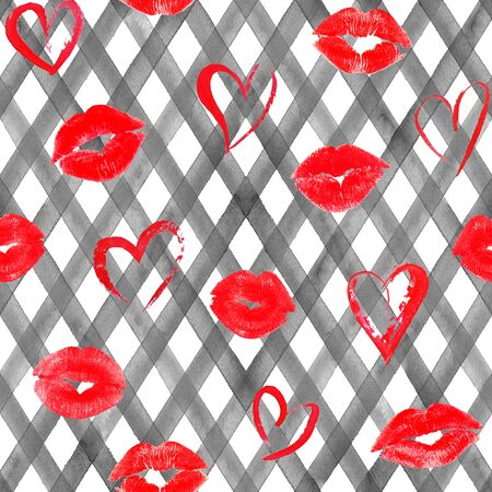 Vintage background with watercolor red hearts, lips, roses on black plaid stripes seamless pattern. Watercolour hand painted striped old grunge texture. Print for textile, fabric, wallpaper, wrapping.