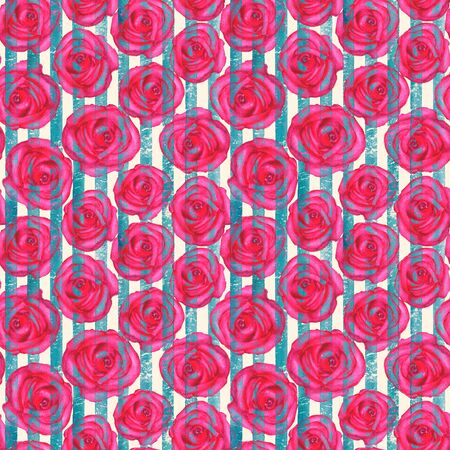 Vintage background with watercolor roses on teal turquoise stripes seamless pattern. Watercolour hand painted striped old grunge texture. Print for textile, fabric, wallpaper, wrapping paper.