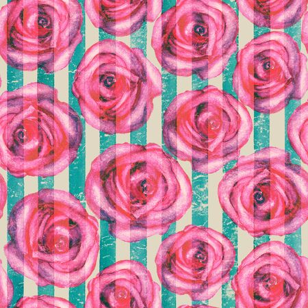 Vintage background with watercolor pink roses on teal turquoise stripes seamless pattern. Watercolour hand painted striped old grunge texture. Print for textile, fabric, wallpaper, wrapping paper.