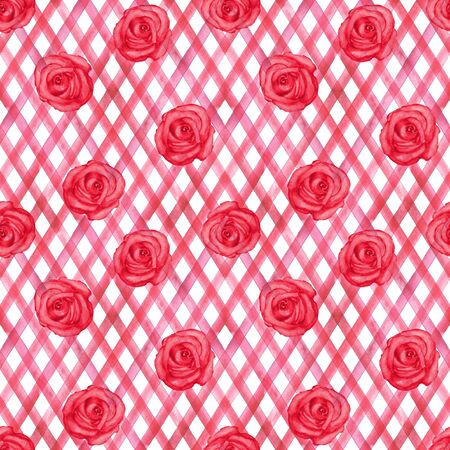 Background with watercolor pink red roses on red stripes plaid seamless pattern. Watercolour hand painted striped old grunge texture. Print for textile, fabric, wallpaper, wrapping paper.