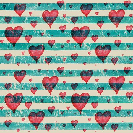 Vintage background with watercolor red hearts on teal turquoise stripes seamless pattern. Watercolour hand painted striped old grunge texture. Print for textile, fabric, wallpaper, wrapping paper.