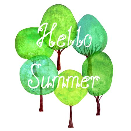 Hello Summer lettering green trees set banner watercolour background. Watercolor cartoon colorful tree collection isolated on white background. Design element for poster, card, invitation