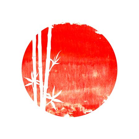 White silhouette of bamboo stems and leaves on big red sun isolated on square white background. Watercolor hand drawn traditional Japanese illustration with space for text. Фото со стока - 139556324