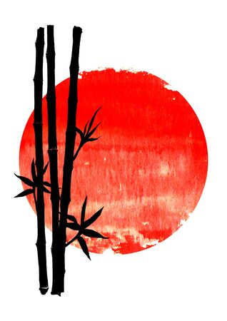 Black silhouette of bamboo stems and leaves on big red sun isolated on vertical white background. Watercolor hand drawn traditional Japanese illustration with space for text. Иллюстрация
