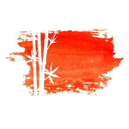 White silhouette of bamboo stems and leaves on big red sun stain isolated on white background. Watercolor hand drawn traditional Japanese illustration with space for text. Иллюстрация