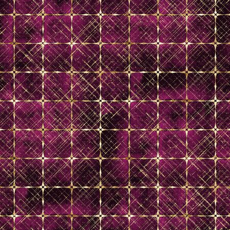 Watercolor abstract geometric burgundy red stripe plaid seamless pattern with gold glitter line contour. Watercolour hand drawn striped texture background. Print for textile, wallpaper, wrapping paper