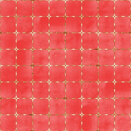Watercolor abstract geometric red stripe plaid seamless pattern with gold glitter line contour. Watercolour hand drawn striped texture background. Print for textile, wallpaper, wrapping paper.
