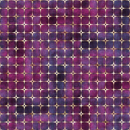 Watercolor abstract geometric purple pink stripe plaid seamless pattern with gold glitter line contour. Watercolour hand drawn striped texture background. Print for textile, wallpaper, wrapping paper. Stock fotó