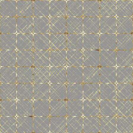 Gold seamless pattern. Striped grunge plaid grey and yellow golden texture background. Abstract geometric diagonal overlapping stripe illustration. Print for textile, wallpaper, wrapping paper. Stock fotó