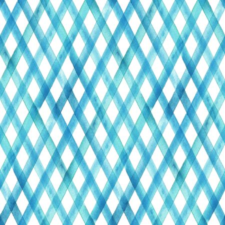 Watercolor stripe diagonal plaid seamless pattern. Blue teal stripes on white background. Watercolour hand drawn striped texture. Print for cloth design, textile, fabric, wallpaper, wrapping, tile. Stock fotó