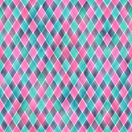 Watercolor stripe diagonal plaid seamless pattern. Pink and blue teal stripes background. Watercolour hand drawn striped texture. Print for cloth design, textile, fabric, wallpaper, wrapping, tile. Stock fotó