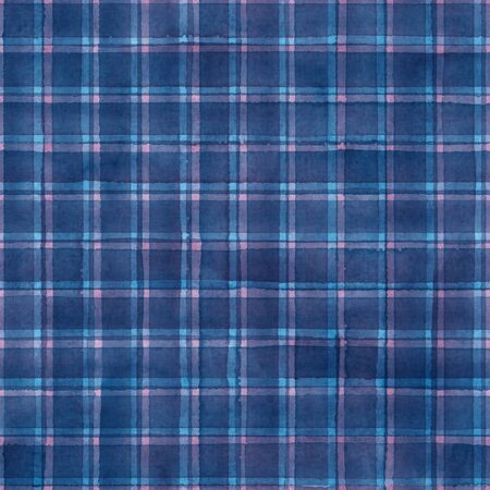 Watercolor stripe plaid seamless pattern. Colorful blue navy pink stripes background. Watercolour hand drawn striped texture. Print for cloth design, textile, fabric, wallpaper, wrapping, tile.