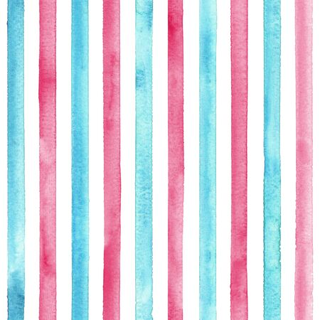 Watercolor teal blue pink stripes on white background. Colorful striped seamless pattern. Watercolour hand drawn stripe texture. Print for cloth design, textile fabric, wallpaper, wrapping, tile