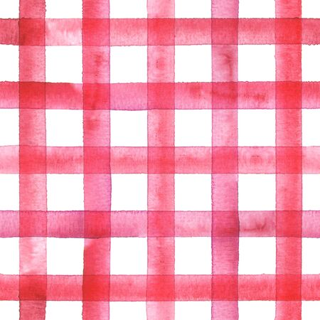 Watercolor stripe plaid seamless pattern. Red pink stripes on white background. Watercolour hand drawn striped texture. Print for cloth design, textile, fabric, wallpaper, wrapping, tile.