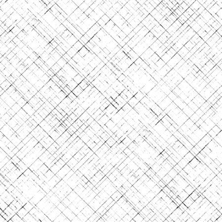 Stripe diagonal plaid seamless pattern. Black stripes on white background. Hand drawn striped texture. Print for cloth design, textile, fabric, wallpaper, wrapping, tile.