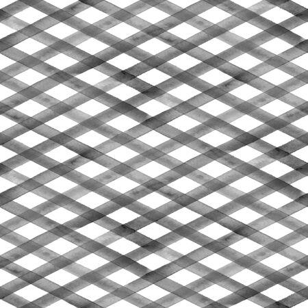Watercolor stripe diagonal plaid seamless pattern. Black grey stripes on white background. Watercolour hand drawn striped texture. Print for cloth design, textile, fabric, wallpaper, wrapping, tile.