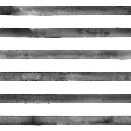 Watercolor stripe seamless pattern. Black stripes on white background. Watercolour hand drawn striped texture. Print for cloth design, textile, fabric, wallpaper, wrapping, tile.