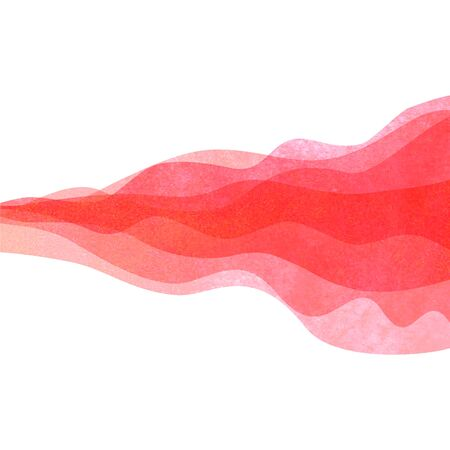 Watercolor transparent wave red colored background. Watercolour hand painted waves illustration.