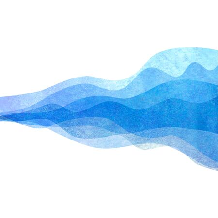 Watercolor transparent wave blue colored background. Watercolour hand painted waves illustration. Banner frame backdrop isolated on white. Grunge color cover. Illusztráció