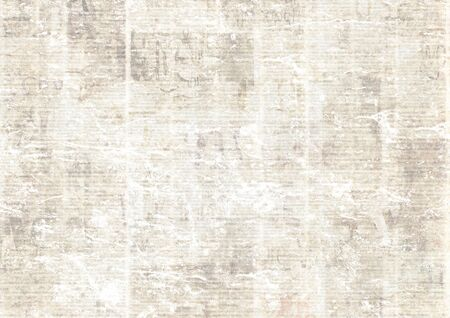 Old grunge newspaper paper textured background. Blurred vintage newspapers texture background. Blur unreadable aged news horizontal page with place for text, images. Grey color collage.