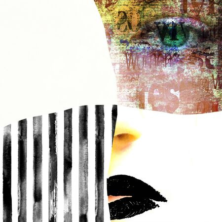 Mixed media. Contemporary fashion woman portrait. Beautiful female face with green eyes and black lips on newspaper and stripe texture. Newspapers art print grunge collage. Cosmetology concept.