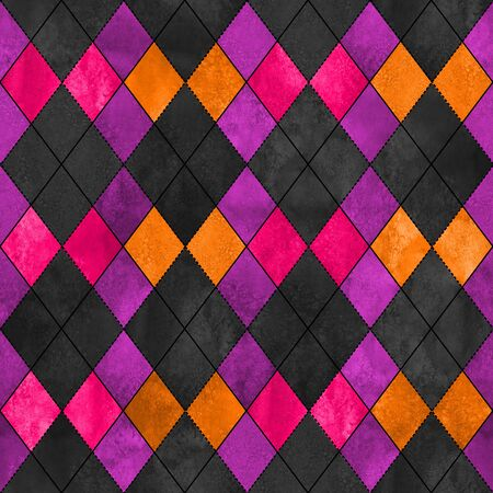 Colorful argyle seamless plaid pattern. Watercolor hand drawn texture background. Watercolour pink purple orange rhombus shapes background. Print for cloth design, textile, fabric, wallpaper, wrapping, tile.
