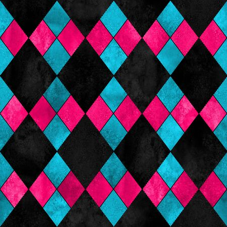Colorful argyle seamless plaid pattern. Watercolor hand drawn texture background. Watercolour pink blue black rhombus shapes background. Print for cloth design, textile, fabric, wallpaper, wrapping. Imagens