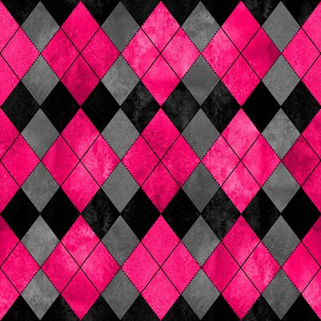 Colorful argyle seamless plaid pattern. Watercolor hand drawn texture background. Watercolour pink black grey rhombus shapes background. Print for cloth design, textile, fabric, wallpaper, wrapping. Imagens