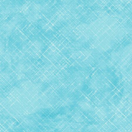 Watercolor stripe diagonal plaid seamless pattern. White stripes on teal turquoise background. Watercolour hand drawn striped texture. Print for cloth design, textile, fabric, wallpaper, wrapping, tile.