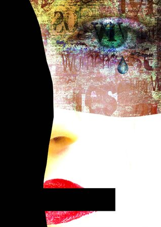 Mixed media. Contemporary art portrait of abused, banned to speak and express opinion, beautiful, crying young woman with green eyes. Psychological violence, abuse in the family. Copy space. Reklamní fotografie