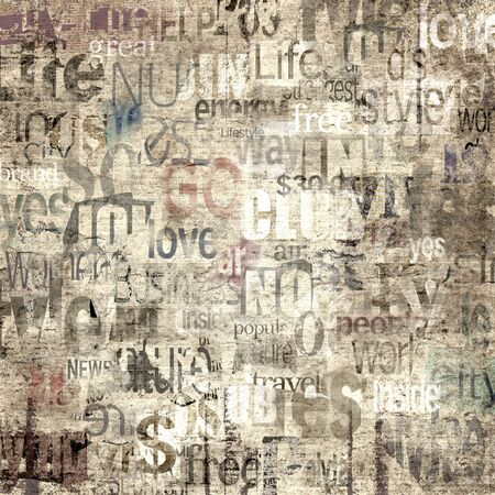 Old newspaper paper grunge with letters, words texture background. Blurred vintage newspapers textured backdrop. Blur unreadable aged news lettering square page. Sepia brown art collage.
