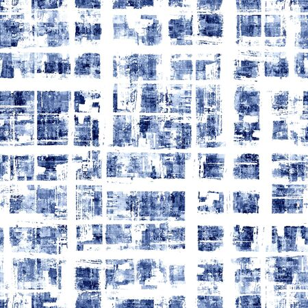 Abstract grunge cross geometric shapes contemporary art indigo seamless pattern background. Watercolor hand drawn colorful brush strokes texture. Watercolour print for textile, wallpaper, wrapping
