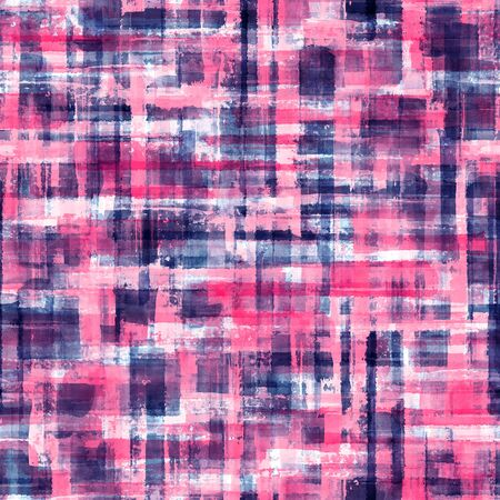 Abstract grunge cross geometric shapes contemporary art multicolor seamless pattern background. Watercolor hand drawn colorful brush strokes texture. Watercolour print for textile, wallpaper, wrapping