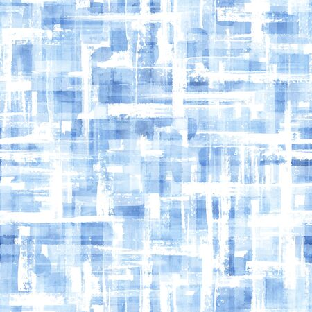 Abstract grunge cross geometric shapes contemporary art blue color seamless pattern background. Watercolor hand drawn brush strokes texture. Watercolour print for textile, wallpaper, wrapping