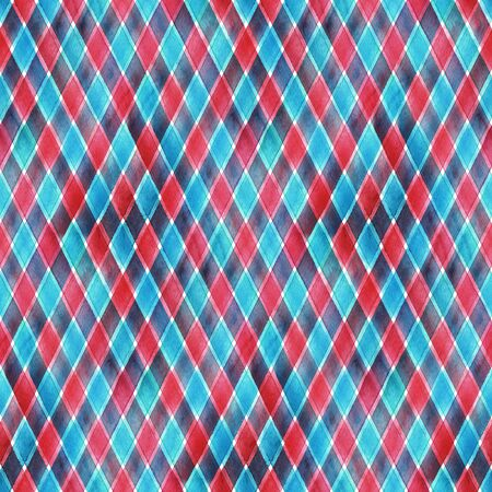 Watercolor stripe diagonal plaid seamless pattern. Red and blue stripes background. Watercolour hand drawn striped texture. Print for cloth design, textile, fabric, wallpaper, wrapping paper, tile.