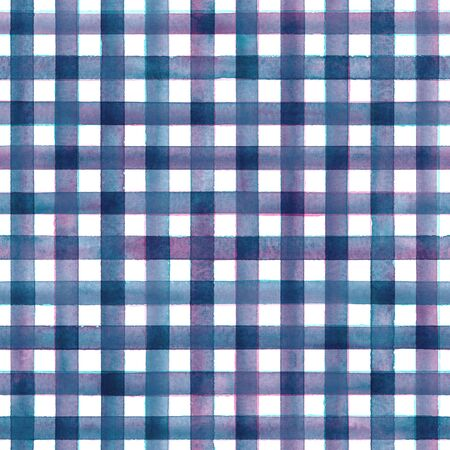 Watercolor stripe plaid seamless pattern. Colorful purple blue stripes on white background. Watercolour hand drawn striped texture. Print for cloth design, textile, fabric, wallpaper, wrapping, tile.