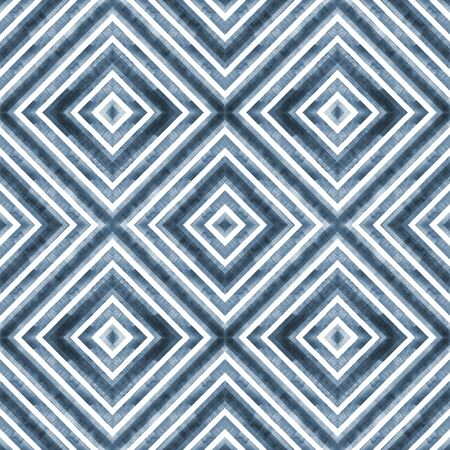 Watercolor geometric rhombus squares seamless pattern. Indigo blue stripes on white background. Watercolour hand drawn striped texture. Print for cloth design, textile, fabric, wallpaper, wrapping.